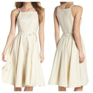 Gal Meets Glam Caroline Linen Fit and Flare Dress